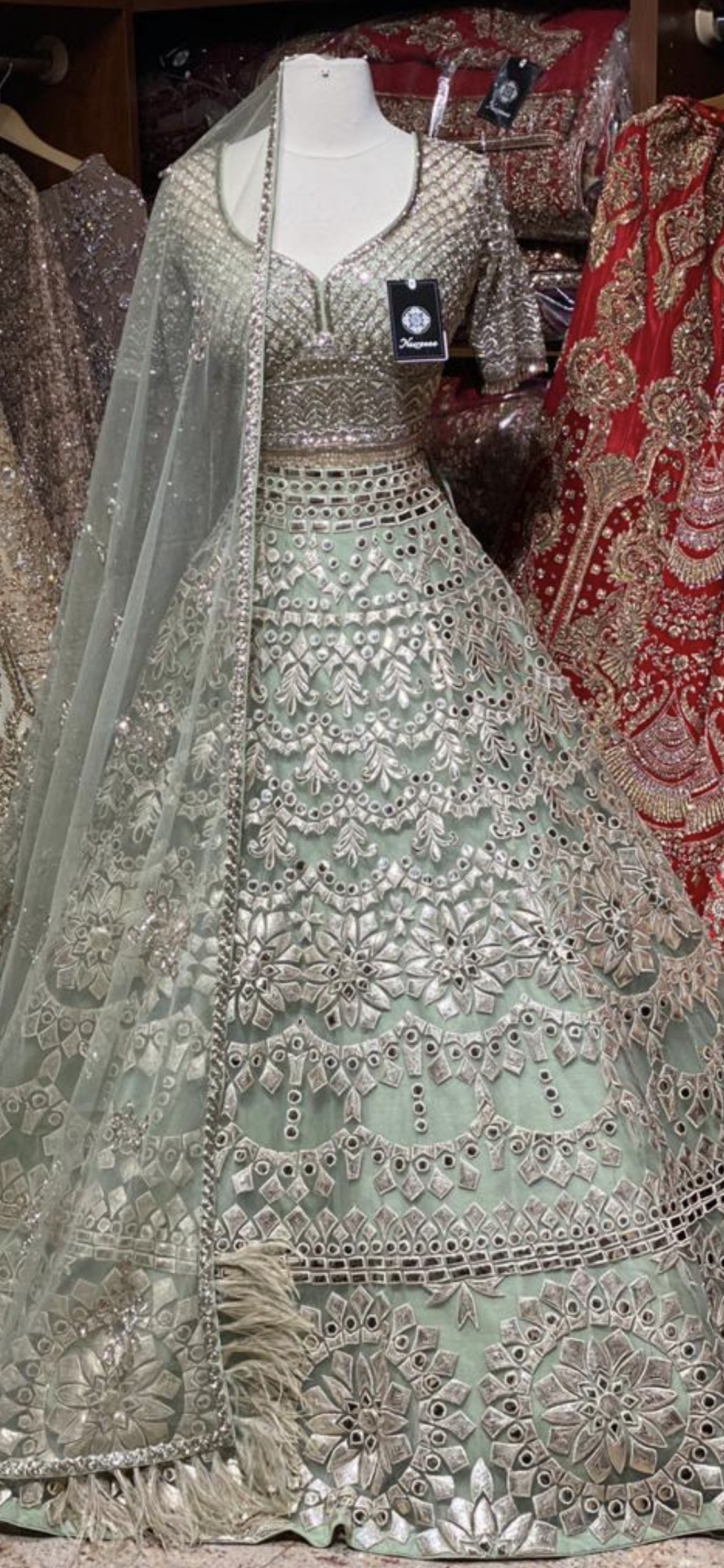 Sage Green Bridal Wear Lehenga BWL-060