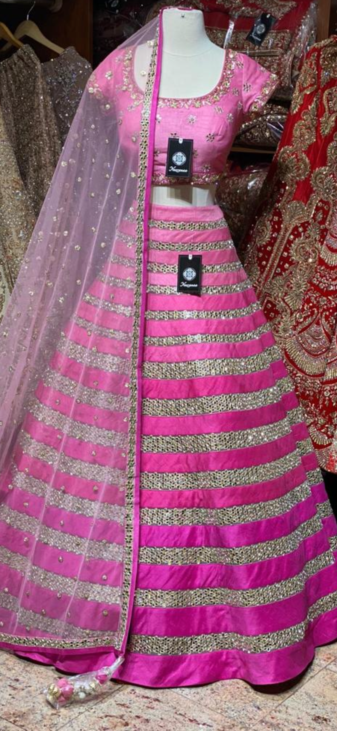 Light to Dark Pink Bridal Wear Lehenga BWL-057