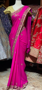 Hot Pink Georgette Saree