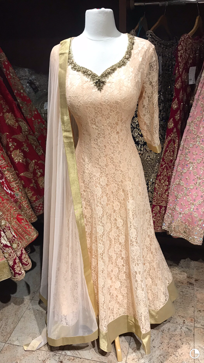 Peach Lace Bridesmaids Anarkali