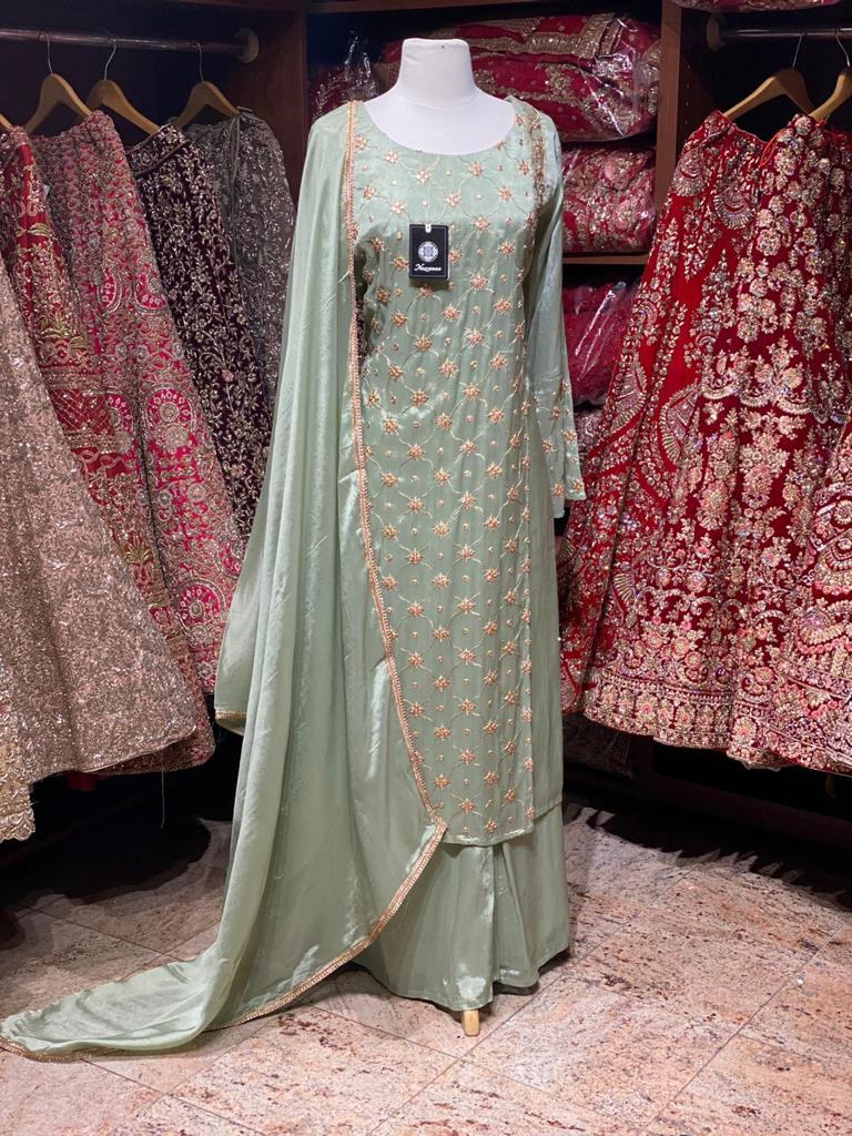 Sage Green Party Wear Suit Collection PWS-040