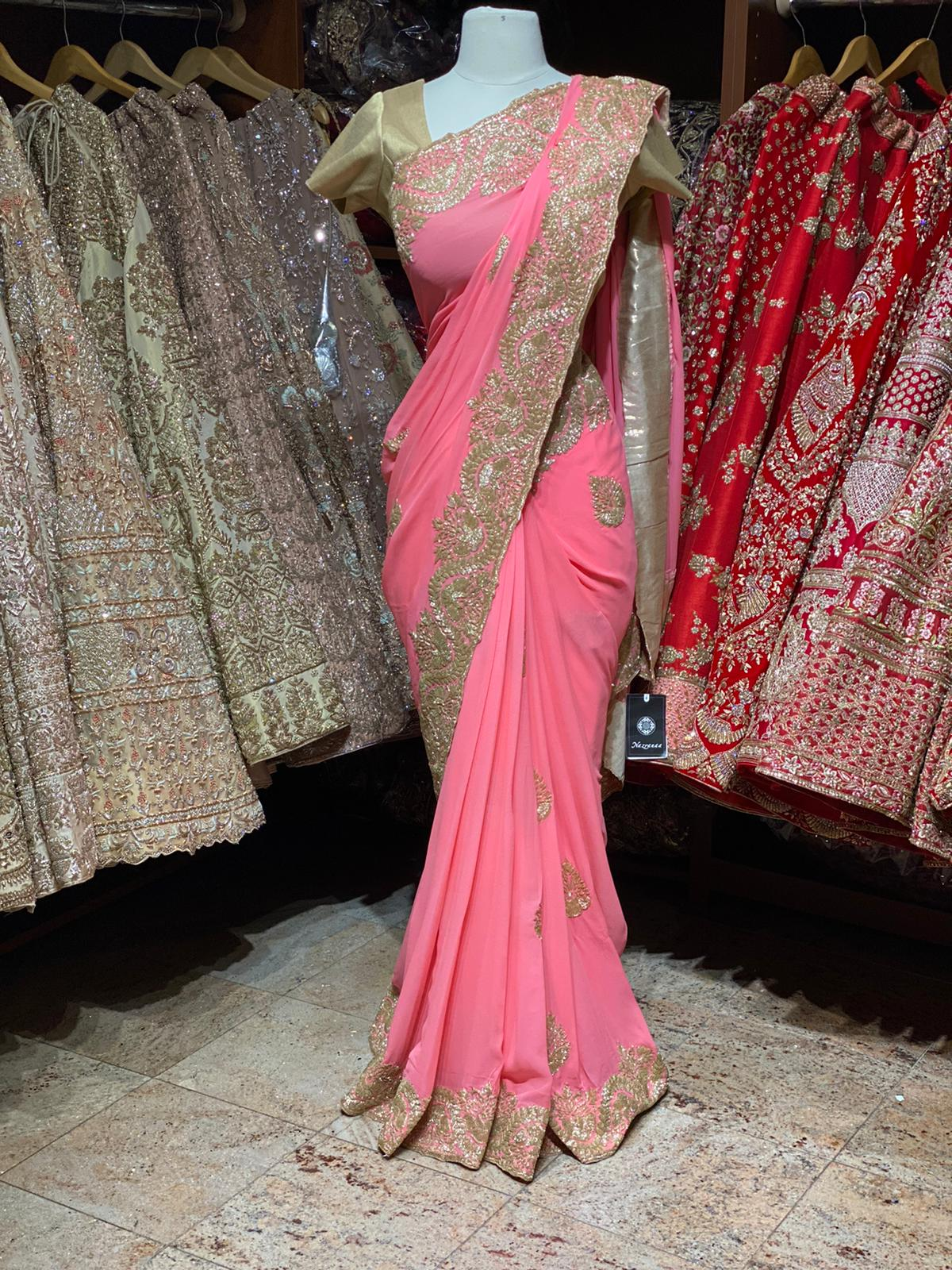 Neon Pink Georgette Saree PWS-010