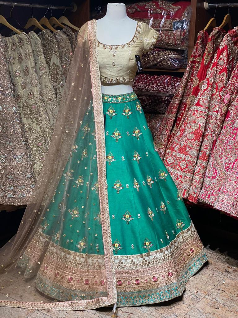 Teal Green Party Wear Lehenga PWL- 039