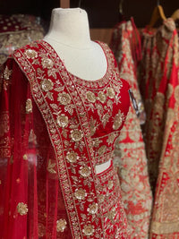 Red Velvet Size 40 Bridal Lehenga