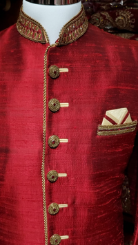Red Raw Silk Sherwani
