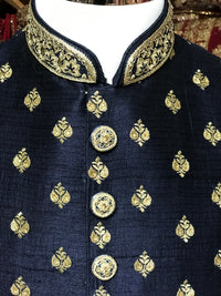 Navy Raw Silk Sherwani