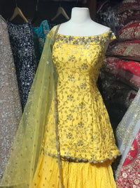 Yellow Size 38 Off Shoulder Gharara