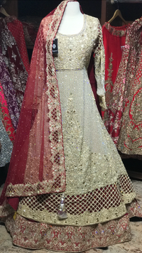 Gold Maroon Size 38 Bridal Lacha W/ Train
