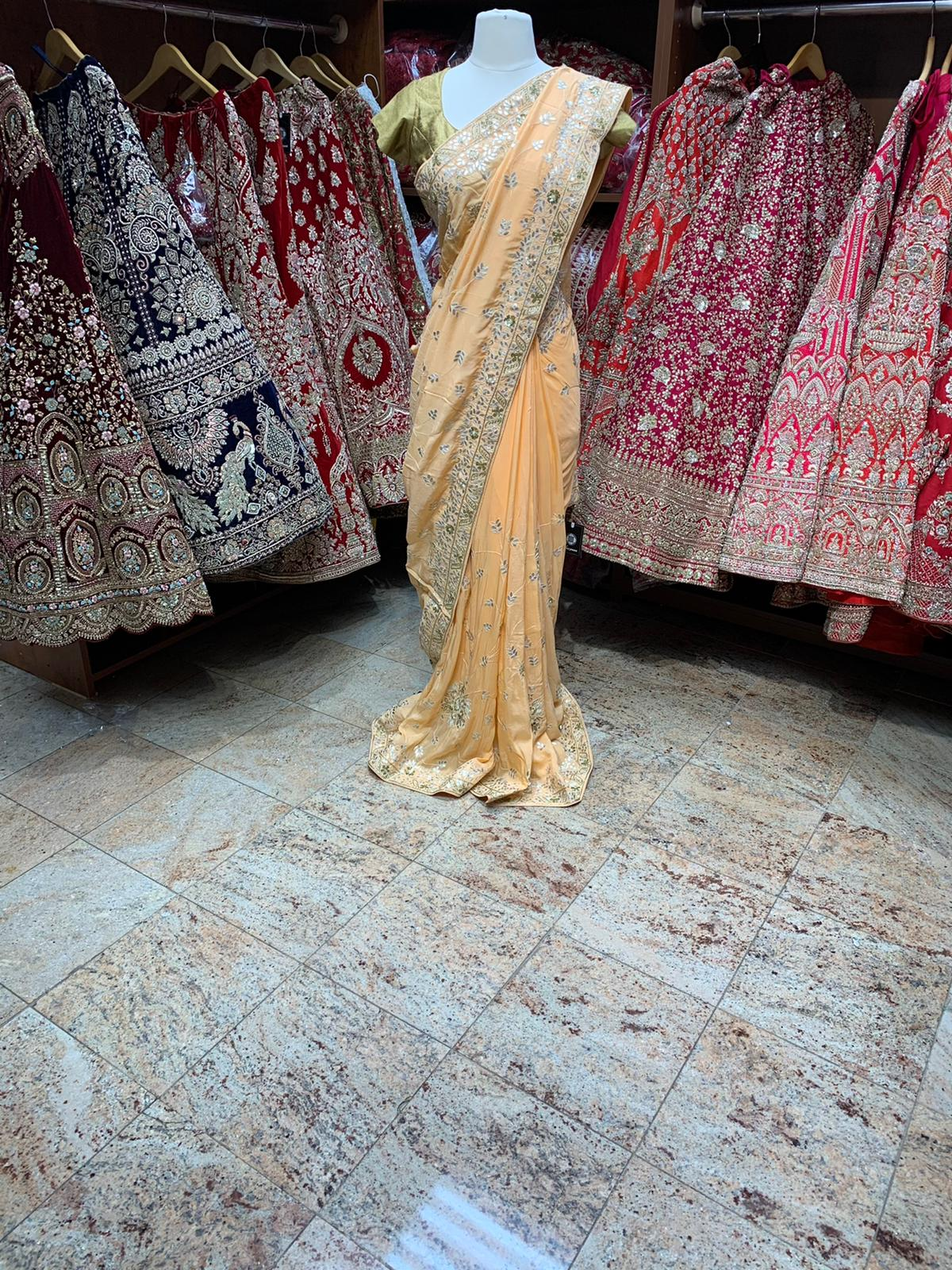 Deep Peach Saree PWS-085