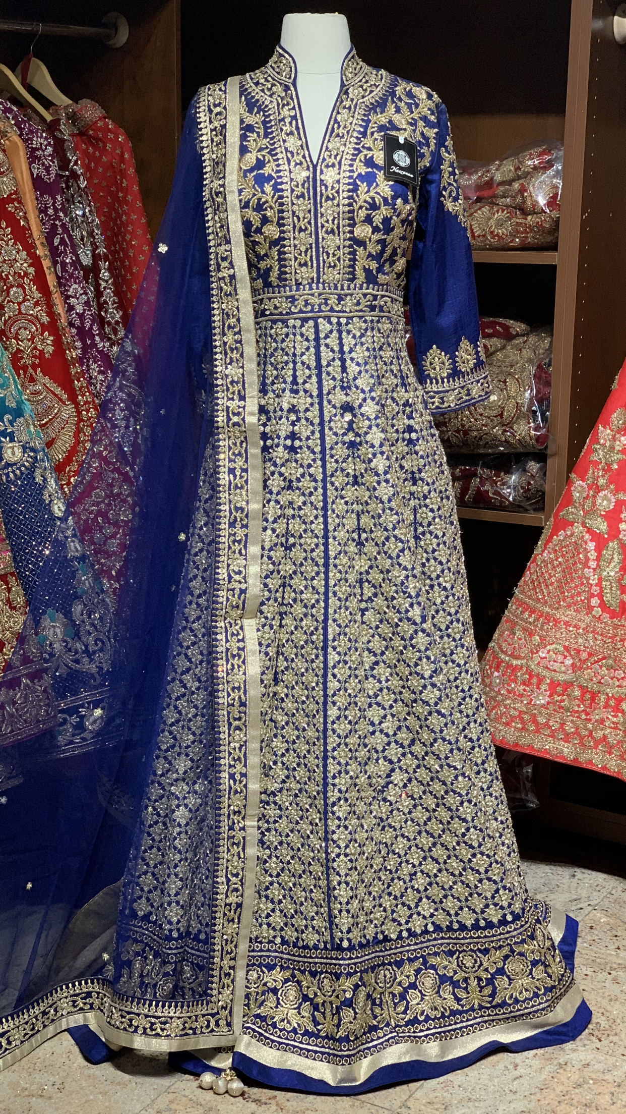 Royal Blue Size 38 Silk Anarkali