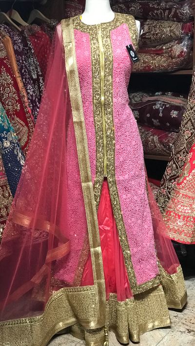 Pink Size 38 Embroidered Lacha
