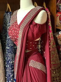 Maroon Pre-Stitched Saree W/ Readymade Blouse PSS-4