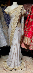 Pale Smoke White Georgette Saree