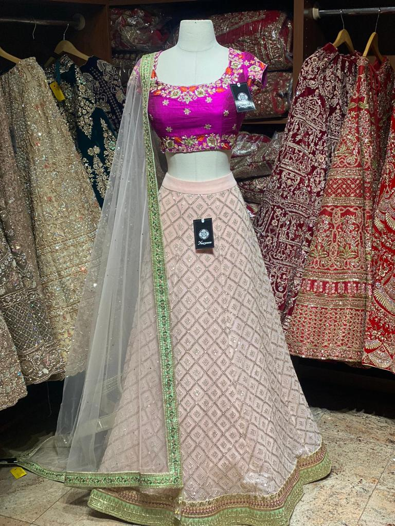 Cherry Blossom Pink Party Wear Lehenga PWL-048