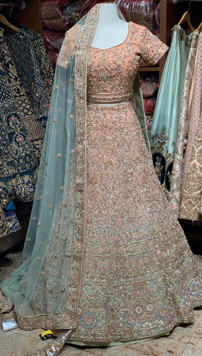 Peach & Mint Ombre Bridal Lehenga