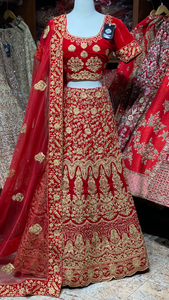 Vermillion Red Party Wear Lehenga PWL-007