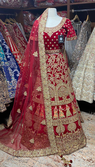 Red Figurines Lehenga