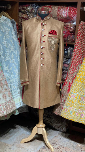 Gold Red Size 40 Wedding Sherwani