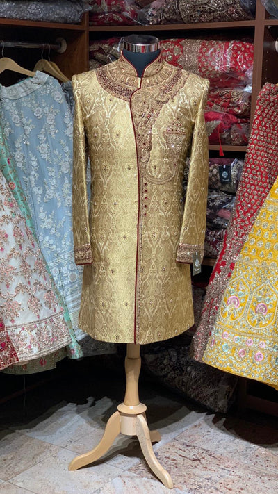 Gold Maroon Size 40 Wedding Sherwani