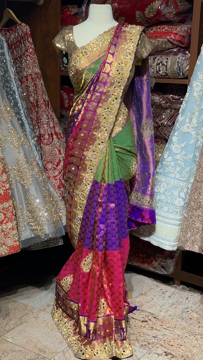 Bridal Tri-colored Kanjeevaram Saree