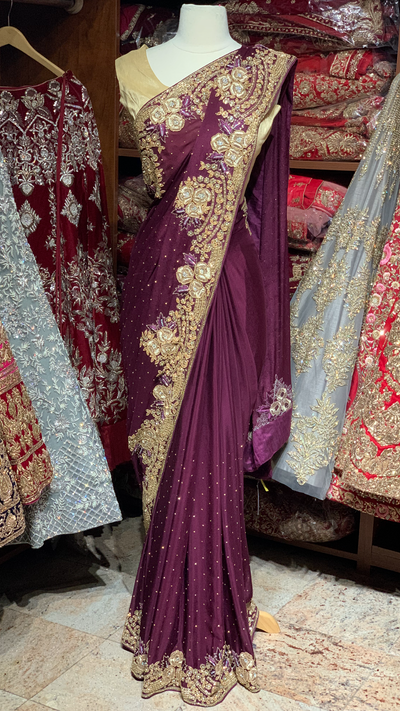 Purple Crepe Silk Saree