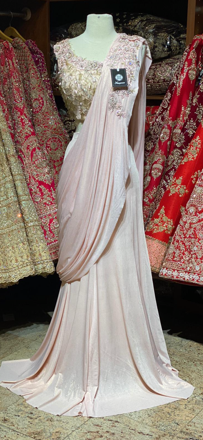 Blush Pre-Stitched Saree W/ Readymade Blouse PSS-2