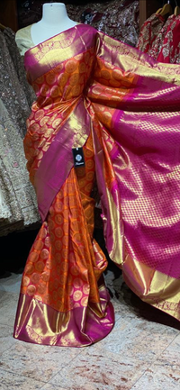 Orange and Pink Pure Silk Kanjeevaram Saree PSK-01
