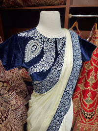 Dove White Saree W/ Readymade Blouse PWS-030