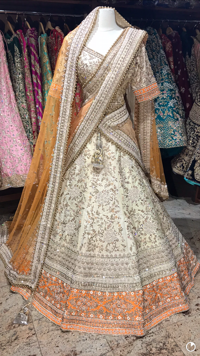 Ivory Orange Bridal Lehenga