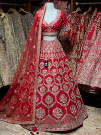 Alizarin Crimson Red Bridal Wear Lehenga BWL-067