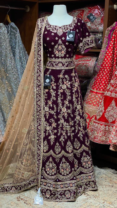Purple Size 40 Bridal Lehenga