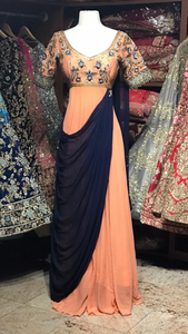 Peach Navy Size 38 Anarkali