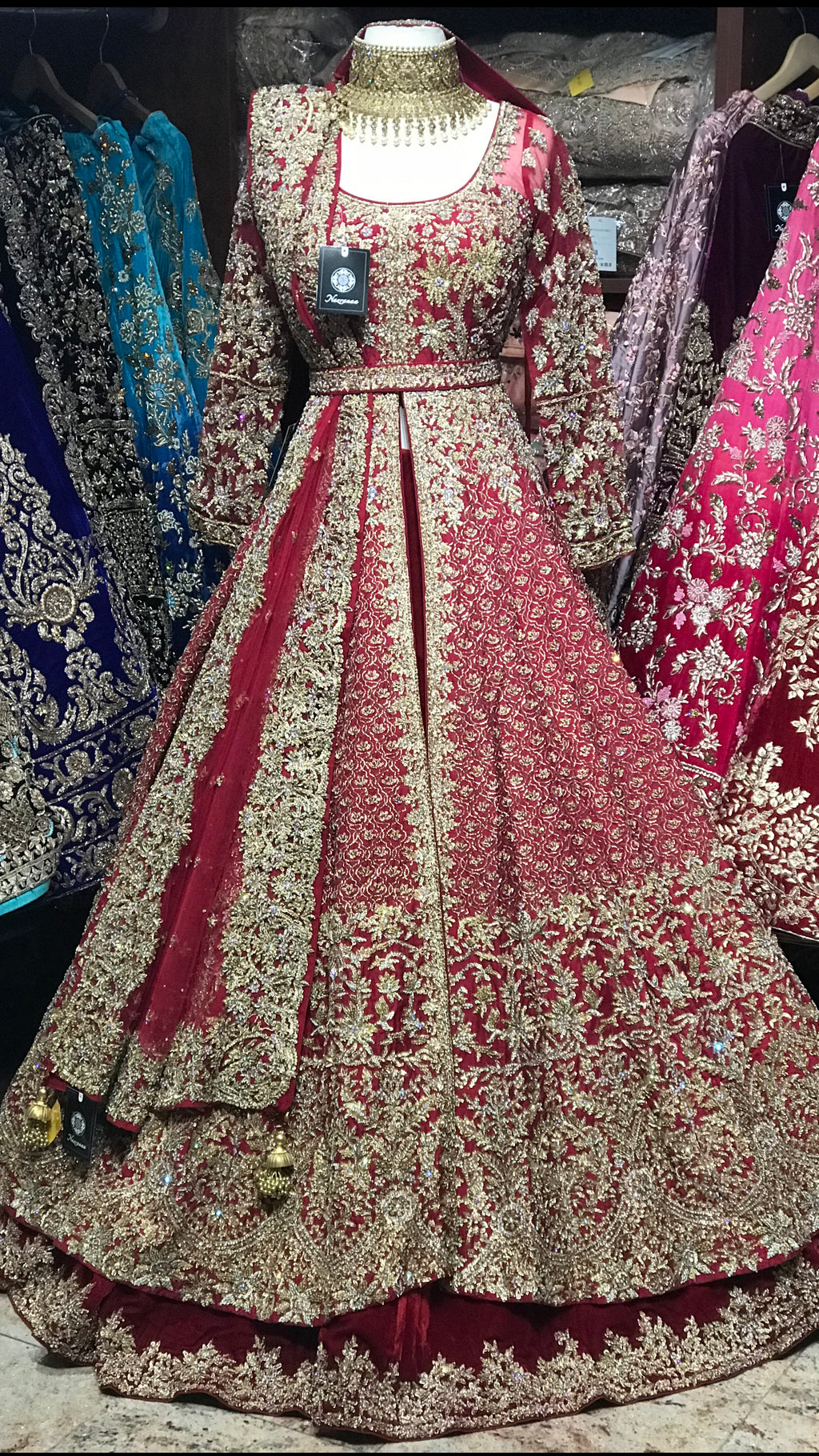 Maroon Custom Made Bridal Lacha