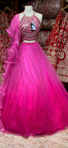 Deep Pink Ruffles Party Wear Lehenga PWL-117