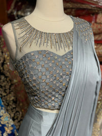 Grey Pre-Stitched Saree W/ Readymade Blouse PSS-16