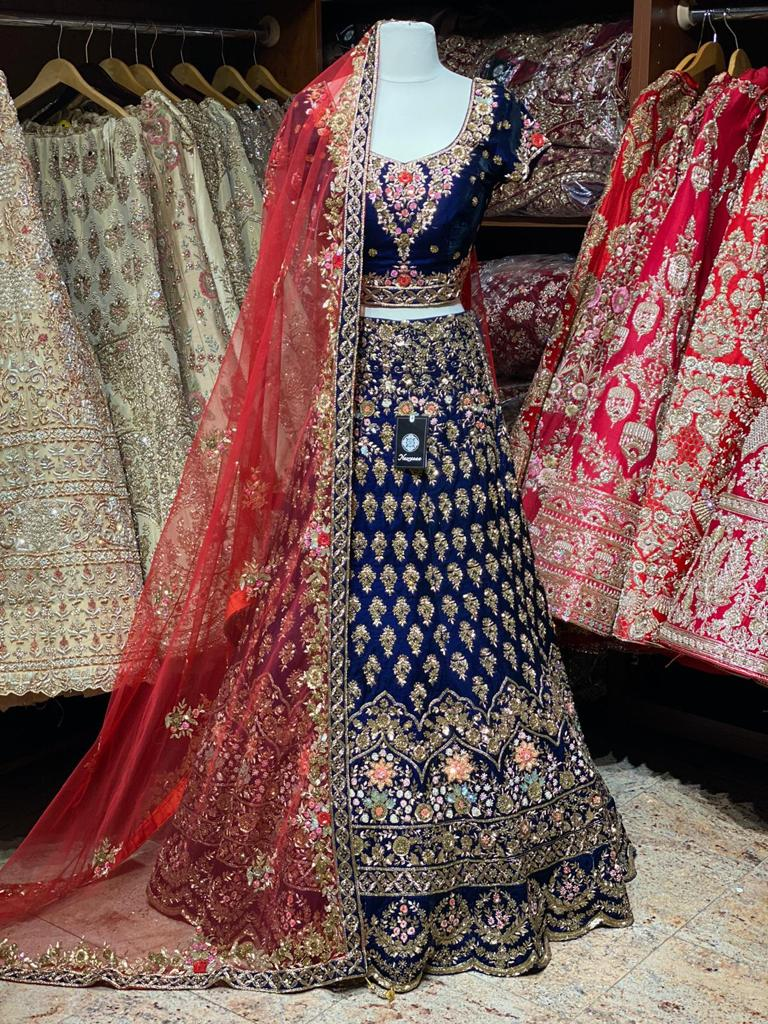 Royal Blue Velvet Bridal Wear Lehenga BWL-050