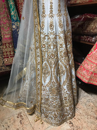 Grey Size 36 Raw Silk Anarkali