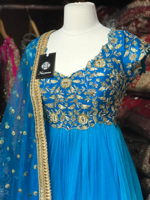 Bright Blue Size 38 Pleated Anarkali