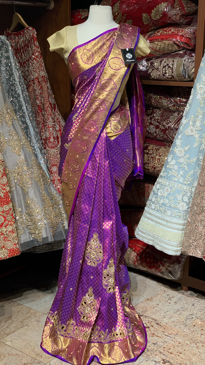 Purple Pure Silk Kanjeevaram Saree