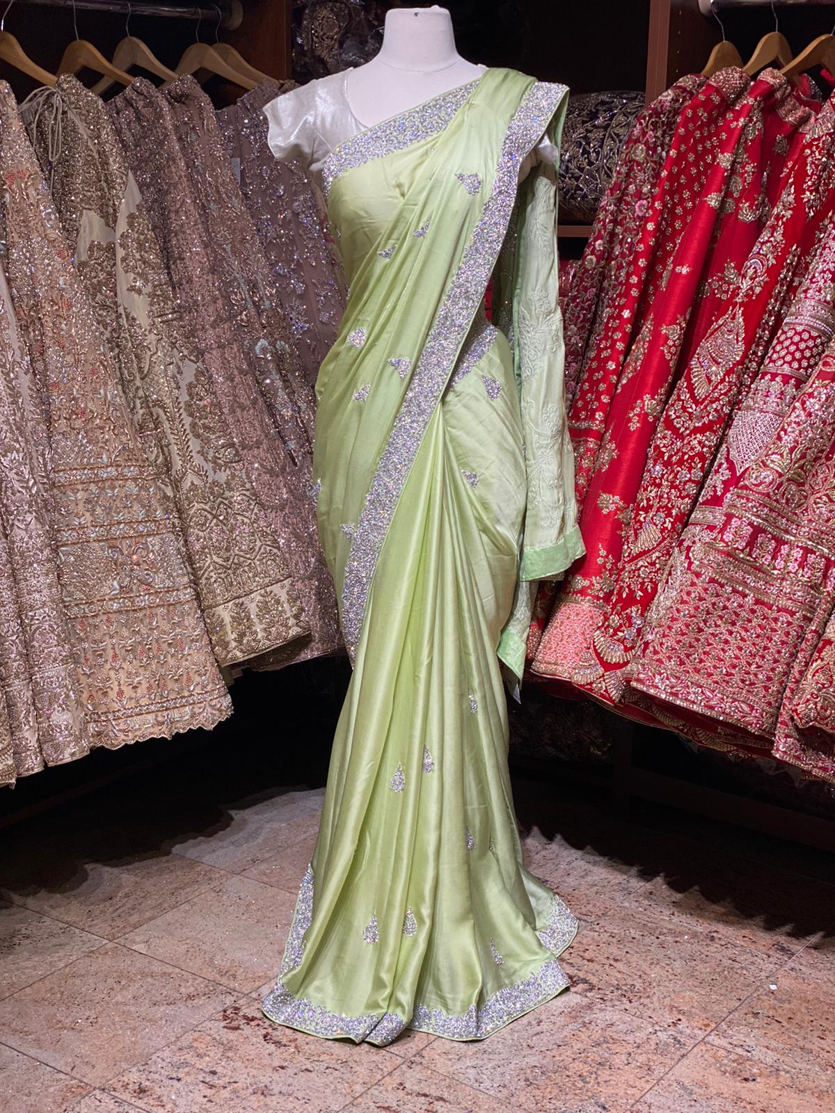 Mint Green Satin Silk Saree PWS-022