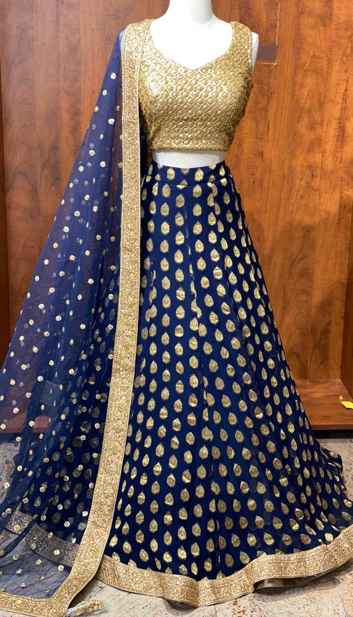 Blue Gold Bridesmaid Lehenga
