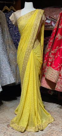 Pineapple Yellow Georgette Saree