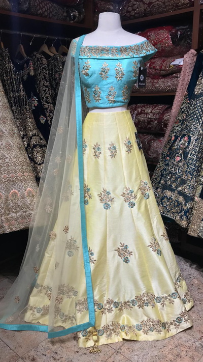 Yellow Off Shoulder Lehenga