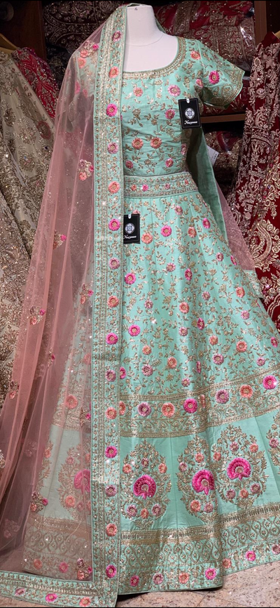 Mint Green Size 38 Bridal Wear Lehenga