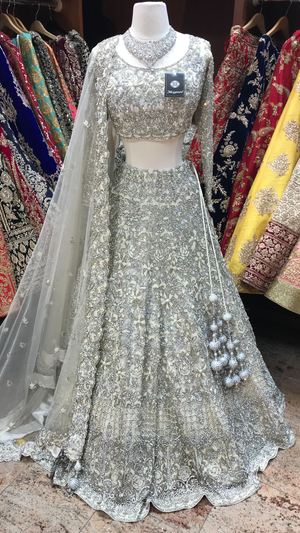White Crystal Embroidery Lehenga