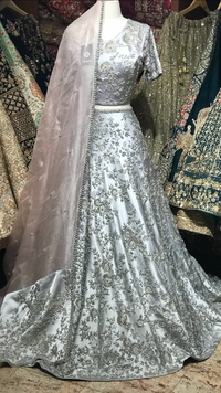 Grey Size 38 Floral Embroidery Lehenga