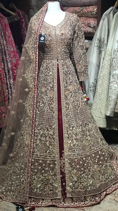 Gold Maroon Custom Made Bridal Lacha