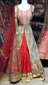 Red Gold Size 38 Embroidered Lacha