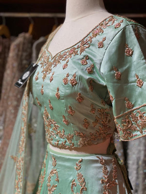 Mint Silk Bridal Lehenga