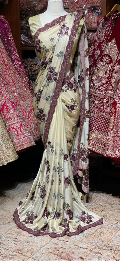 Buff Cream Crape Saree
